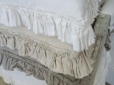 YUM! 100% Linen, with vintage style tattered ruffle.