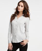 Perfect Long Sleeve Button Down Shirt - We love the classic appeal of a crisp cotton button-down with a touch of modern stretch. Point collar. Long sleeves with button closure. Button front. Shirttail hem.