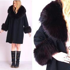 r e s e r v e d /// Vintage 1930s Coat . Black Wool . Fox ...