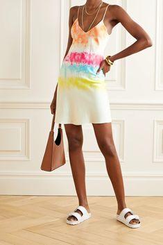 Pink Tie-dyed silk-satin mini dress | DANNIJO | NET-A-PORTER Tie Dyed, Dyed Silk, Scarf Top, Satin Mini Dress, Pink Ties, Tie Dye Designs, Summer Fashion Trends, Summer Wear, Silk Satin