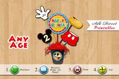 Mickey Mouse Centerpiece, Mickey Mouse Party, Mickey Mouse Birthday, Mickey Mouse Supplies, Mickey Mouse Decorations U print