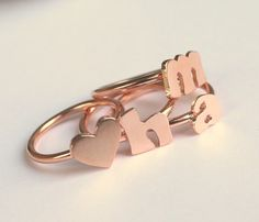 Rose Gold Ring  by meltemsem....would be cute with kids initials
