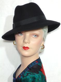 1970s Frank Olive Counter Fit Black Wool Fedora Hat Available at My Vintage Clothes Line on Ruby Lane