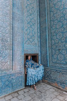 Uzbekistan Wardrobe - Free People Kikas Print Dress in Blue — zory mory Persian Architecture, India Architecture, Futuristic Architecture, Beautiful Buildings, Beautiful Places, Iran Travel, Asia Travel, Morocco Travel, Islamic Patterns