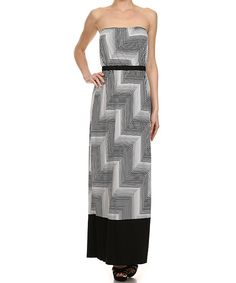 Look at this Karen T. Design Black & White Geo Strapless Maxi Dress - Women on #zulily today!