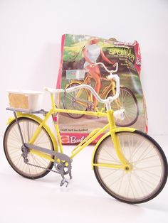 Barbie Bike with box bright summer yellow barbie bicycle 70s barbie. I had this!