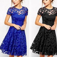 2015 Fashion Women Floral Lace Dress Short Sleeve Summer Party Casual Mini Dress