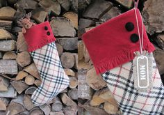 Personalized Stocking from Plaid Wool Fabric Jute by MilaStyle