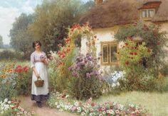 Tending The Roses ~ William Affleck ~ (English 1869 - 1943)
