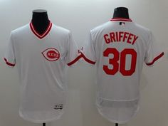 Reds #30 Ken Griffey White Flexbase Authentic Collection Cooperstown Stitched  MLB Jersey