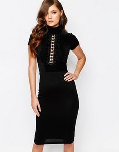TFNC high Neck Midi Dress with Lace insert and Cap sleeve