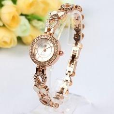 New Fashion Luxury Rose Gold White Bowknot Heart Bracelet Women Lady Wrist Watch #LuxuryDressStyles