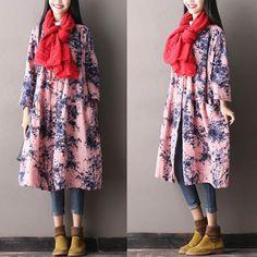 Women's Autumn Loose V Neck Pink Coat