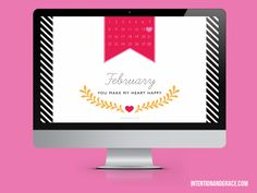 I Heart Downloads | Intentionandgrace.com Free February 2015 Calendar desktop download for Valentines Day