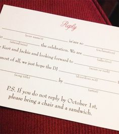 Funny wedding RSVP as seen on @offbeatbride #wedding #rsvp