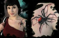 I've been itching for a spider tattoo. Realistic spider tattoo on chest: I'm not a fan of spiders, but this does look BITCHIN! Ribbon Tattoos, 3d Tattoos, Love Tattoos, Beautiful Tattoos, Tattoos For Women, Tatoos, Beautiful Body, Frog Tattoos, Crazy Tattoos