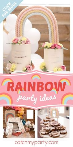 Take a look at this beautiful boho rainbow 1st birthday party! The cakes will blow you away! See more party ideas and share yours at CatchMyParty.com#catchmyparty #partyideas #rainbows #bohoparty #boho #rainbowparty #girlbirthdayparty Boys 1st Birthday Party Ideas, Birthday Party Decorations, Girl Birthday, Party Favors, Polka Dot Jumpers, Rainbow Parties, Delicious Donuts, Candle Favors, Rainbow Birthday