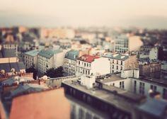 tilt shift photography of paris