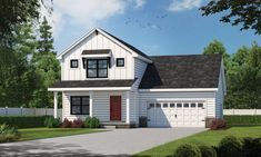 This farmhouse design floor plan is 1600 sq ft and has 3 bedrooms and has 2.5 bathrooms.