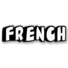 "French World Language Pin. 1-1/4""W x 3/8""H. Soft enamel color, Nickel plated. $3.95"