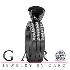 Jewelry by Garo | Fancy Black & White Diamond Engagement Ring And Wedding Aniversary 2 Band Sets 2.62 Carat Vintage Style 14K Black Gold HandMade