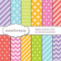 INSTANT DOWNLOAD - Rainbow Circus Patterns 12 Pack - chevron, polka dot, stripes, lattice - backgrounds and scrapbook paper via Etsy
