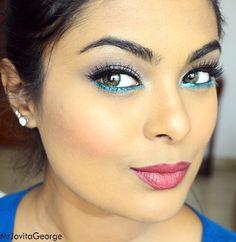 Teal eyeliner for dark skin