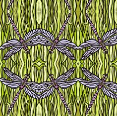 Dragonfly fabric by sarah_angst_arts on Spoonflower - custom fabric
