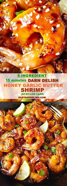This my go-to shrimp recipe for Honey Garlic Butter Shrimp Skillet. It is dinner made easy in only 15 minutes and also mess-free because it uses only one pan. Its gluten-free dairy-free low carb and pescatarian! Shrimp Recipes For Dinner, Gluten Free Recipes For Dinner, Dairy Free Recipes, Dishes For Dinner, Low Carb Shrimp Recipes, Dairy Free Low Carb, Honey Recipes, Fish Recipes, Seafood Recipes