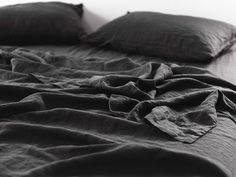 Be bold with our Inky Charcoal linen. Shop our beautiful range of pure French linen sheet sets available in King, Queen, Double, King Single and Single sizes and enjoy the widest range of linen colours online. Linen Sheets, Linen Duvet, Bed Linen Sets, Linen Pillows, Linen Fabric, Aesthetic Value, Healthy Sleep, Delicate Wash, Black Linen