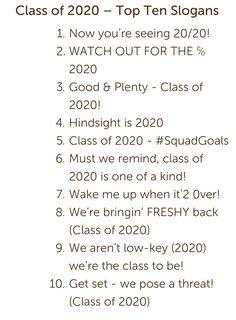 Class of 2020 Sayings!