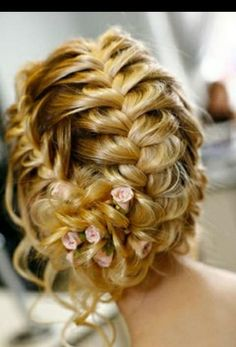 Bride's loose multiple French braided chignon bridal hair ideas Toni Kami Wedding Hairstyles ♥ ❶ wedding hairstyle with pink roses Braided Updo, Braided Hairstyles, Wedding Hairstyles, Wedding Updo, Fishtail Updo, Prom Updo, Updo Hairstyle, Style Hairstyle, Bun Braid