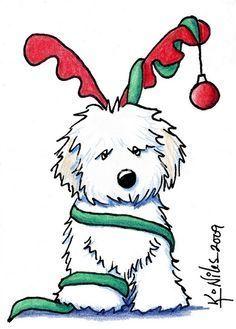vintage christmas card 1960s mod b w puppy dog w red santa hat rh pinterest com Christmas Tree Clip Art Christmas Llama