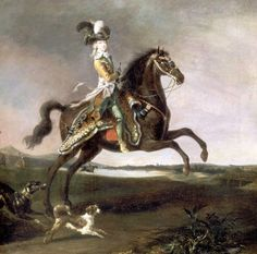 Portrait of Marie Antoinette by Louis Auguste Brun de Versoix, 1783. — This is a rather daring and macho pose for a woman: she's not only astraddle, but shown with her horse rearing. Go girl!