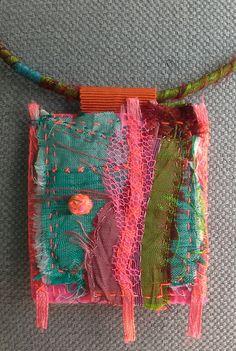 Collier/Tableau textile esprit couture van VeronikB op Etsy