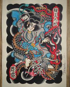 #painting #pintura #illustration #japaneseart #instaart #watercolor #aquarela #tattoodesign #tattooflash #tattooart #irezumi #japanesetattoo #orientaltattoo #tatuagemjaponesa #brasil #deneka #horiden #彫電 #我慢 #龍王太郎