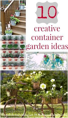 10 Creative Container Garden Ideas | TheSpaceBetweenBlog.net for Remodelaholic.com #gardening #plants