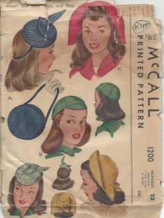 Electronics, Cars, Fashion, Collectibles, Coupons and Hat Patterns To Sew, Vogue Sewing Patterns, Vintage Sewing Patterns, Pattern Ideas, Clothing Patterns, Vintage Vogue, Vintage Fashion, Vintage Hats, 1940's Fashion