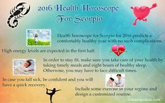 Get Detailed 2016 Health Horoscope for Scorpio Zodiac - Scorpio Fitness, Health & Wellness Astrology 2016 predicts this year