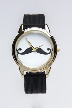 Moustache watch!!! I have this exact watch and it has rhinestones around it!!! It is so cute