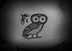 pointillist/ dotwork greek owl tattoo. I saw a tat like these that looked amazing!! The dotwork looks crazy in person