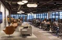 Perkins + Will have designed the offices of ad agency Martin Williams, located in Minneapolis, Minnesota. Martin Williams (MW) is an advertising agency Open Office, Cool Office, Office Ideas, Office Plan, Office Lounge, Workspace Design, Office Interior Design, Office Designs, Lounge Seating