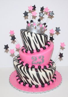 Pink Zebra Cake but in hot pink Cupcakes, Cupcake Cookies, Pink Zebra Cakes, 15th Birthday Cakes, Sorority Sisters, Different Cakes, Specialty Cakes, Piece Of Cakes, Fancy Cakes