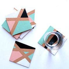 How to Make Color Block Coasters - Tuts+ Crafts & DIY Tutorial Coaster Crafts, Cork Coasters, Making Coasters, Diy Design, Ideas Paso A Paso, Deco Boheme Chic, Ideias Diy, Diy Décoration, Fun Diy