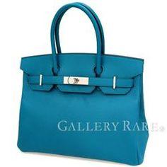 エルメス バーキン30 cm ハンドバッグ ブルーイズミール×シルバー金具 ヴォーエプソン T刻印 HERMES Birkin バッグ