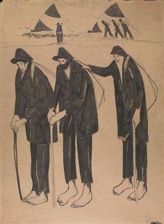 Lorenzo Viani (Italian, 1882–1936) Title: Mendicanti Sul Mare (Recto); Donna Con Una Fascina Sulla Testa (Verso) Medium: pencil on paper Size: 98 x 72 cm. (38.6 x 28.3 in.) View past auction results for LorenzoViani on artnet