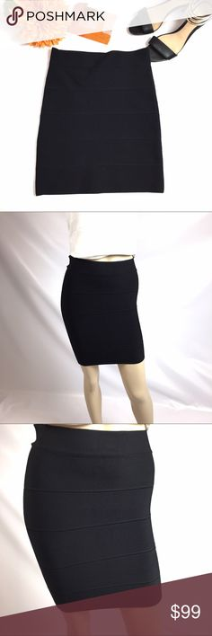 """NWT BCBG MAX AZRIA BLACK SKIN TIGHT SKIRT SIZE BRAND NEW STILL WITH TAGS  EXCELLENT CONDITION WITH ONE TINY PILLING IN FRONT OF SKIRT, PLEASE LOOK AT PHOTOS!  24 1/2"""" WAIST, 17"""" LENGTH  BCBG MAX AZRIA SIZE MEDIUM  SKIN TIGHT MINI SKIRT WITH ELASTIC WAIST  90% RAYON, 1% SPANDEX  MACHINE WASHING COLD GENTLE CYCLE  SMOKE-FREE-HOME BCBGMaxAzria Skirts Mini"""