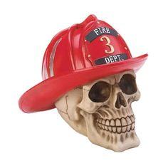 Firefighter Halloween Skull Fire Dept Hat Figurine NEW Evil Spooky Home Decor Halloween Table Centerpieces, Halloween Decorations, Fire Dept, Fire Department, Firefighter Halloween, Skull Fire, Human Skull, Gothic Art, Halloween Skull