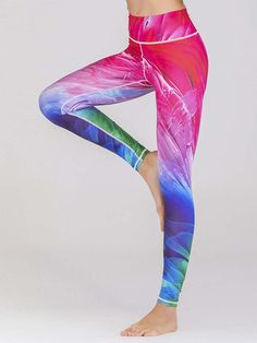 be5a5e9c24 Polyester Print Breathable Spring Running Yoga Pants Full Length Workout  Leggings