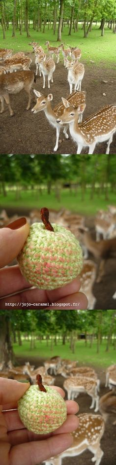 Crocheted apple for Snow White by Jojo Caramel